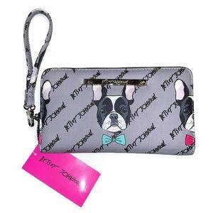 Betsey Johnson wallet wrist French Bulldog dog